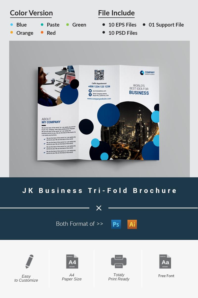"""JK Business Tri-Fold Brochure"" Bedrijfsidentiteit template №87043 - screenshot"