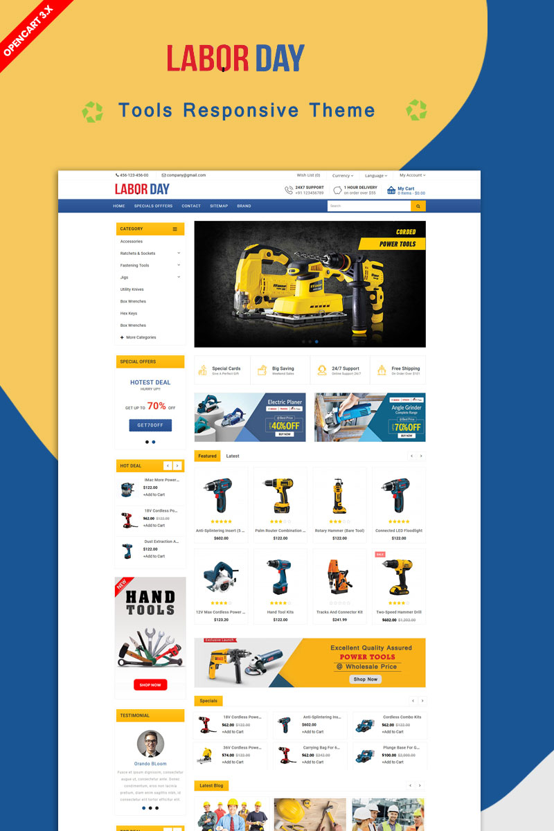 """Labour Powertool Theme"" - адаптивний OpenCart шаблон №87000"