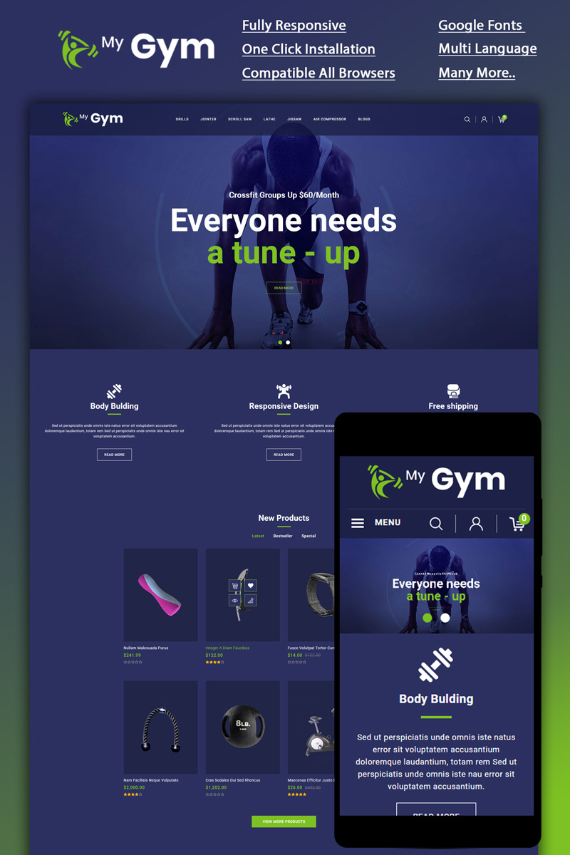"""""""Mygym - Fitness Online Store"""" 响应式OpenCart模板 #87051"""