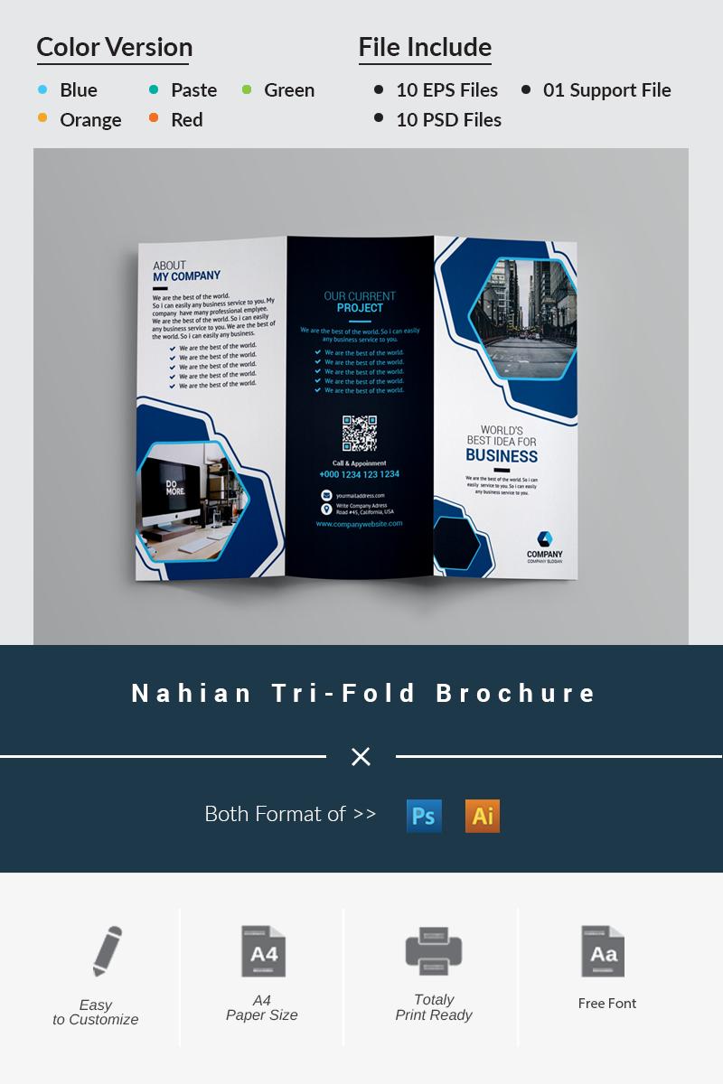 """""""Nahian Tri-Fold Brochure"""" Bedrijfsidentiteit template №87046"""