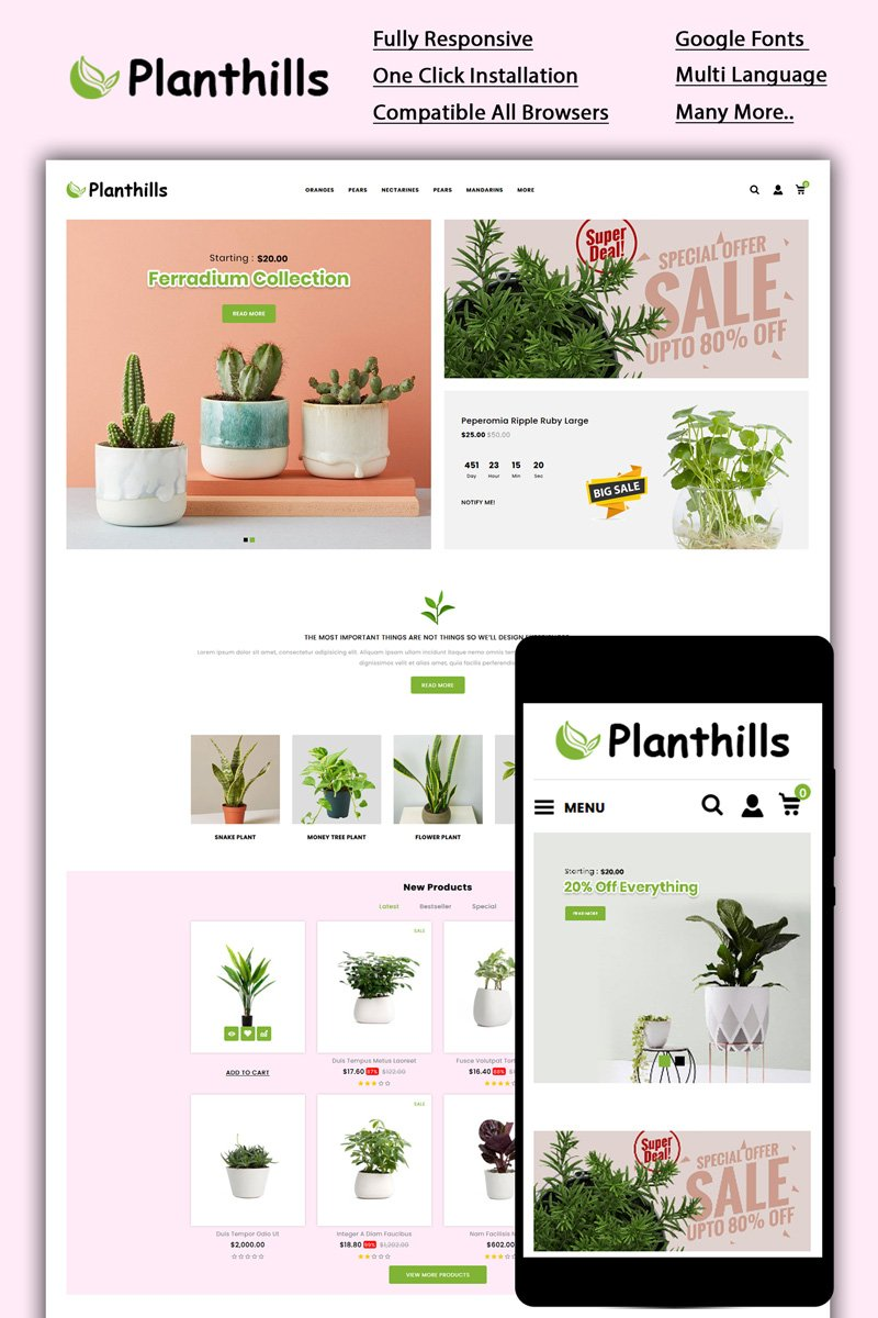 """""""Planthills - Plant Store"""" Responsive OpenCart Template №87050"""
