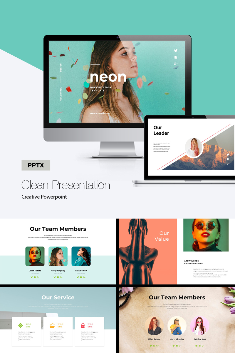 """PowerPoint Vorlage namens """"Neon Colorful"""" #87087"""