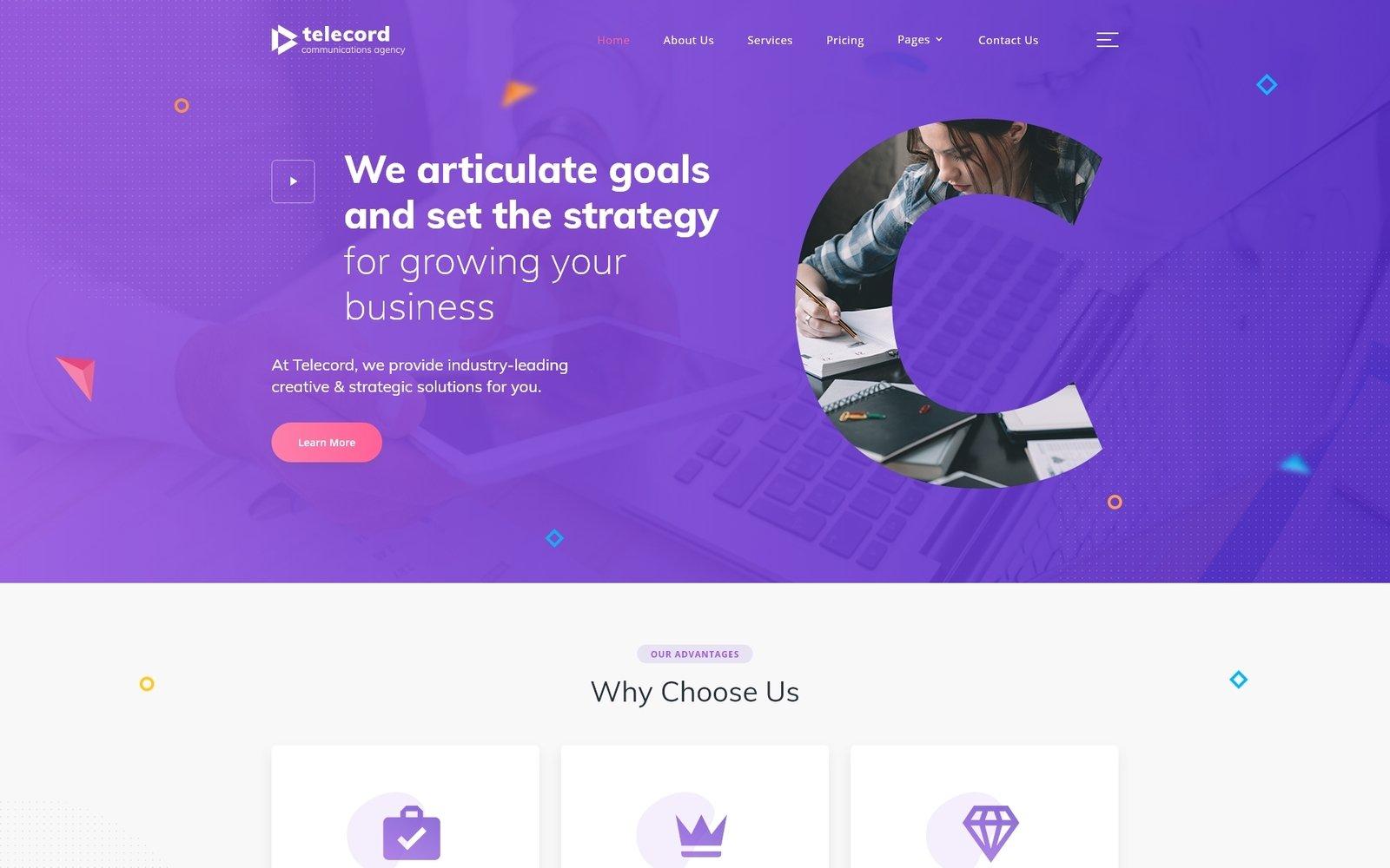Responsywny szablon strony www Telecord - Digital Marketing Multipage Creative HTML #87001