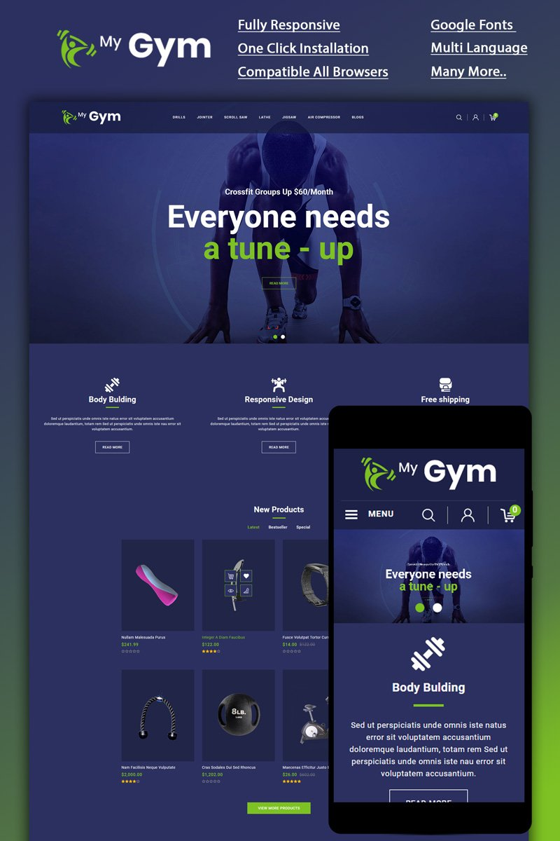 """Tema OpenCart Responsive #87051 """"Mygym - Fitness Online Store"""""""