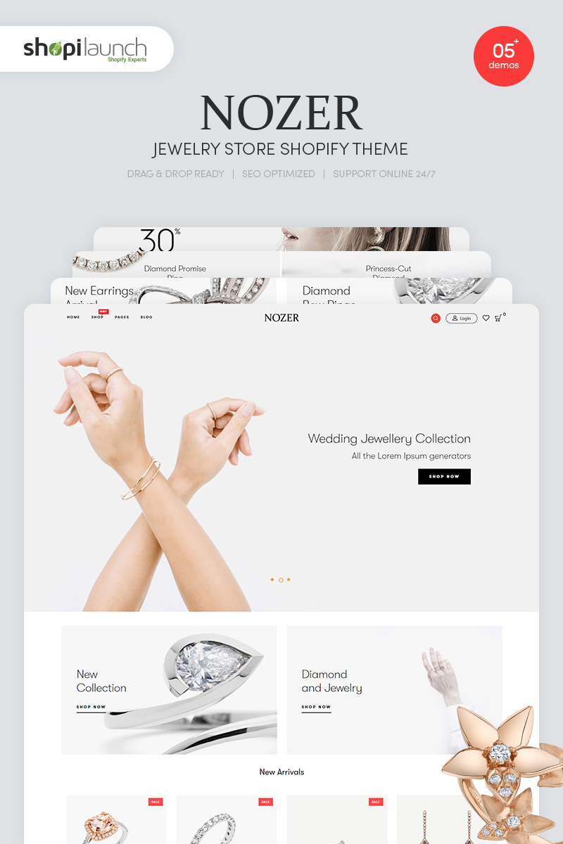 """Template Shopify Responsive #87049 """"Nozer - Jewelry Store"""""""