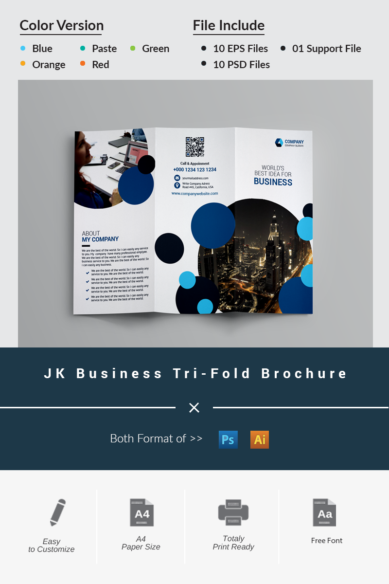 "Unternehmensidentität Vorlage namens ""JK Business Tri-Fold Brochure"" #87043 - Screenshot"