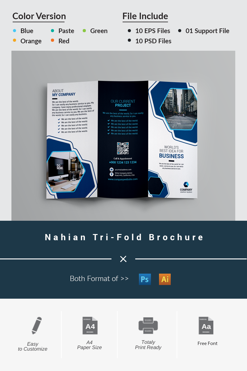 "Unternehmensidentität Vorlage namens ""Nahian Tri-Fold Brochure"" #87046"