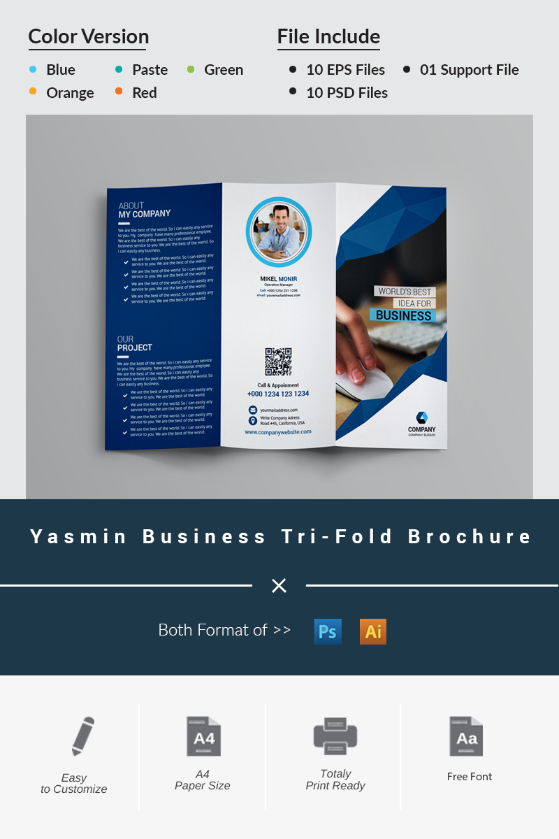 Yasmin Business Tri-Fold Brochure Corporate Identity Template - screenshot