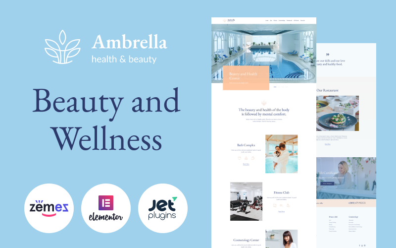 """Ambrella - Beauty and Wellness Website Template"" Responsive WordPress thema №87123"