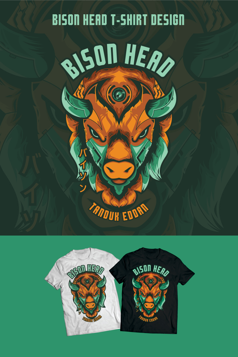 Bison Head Design T-shirt