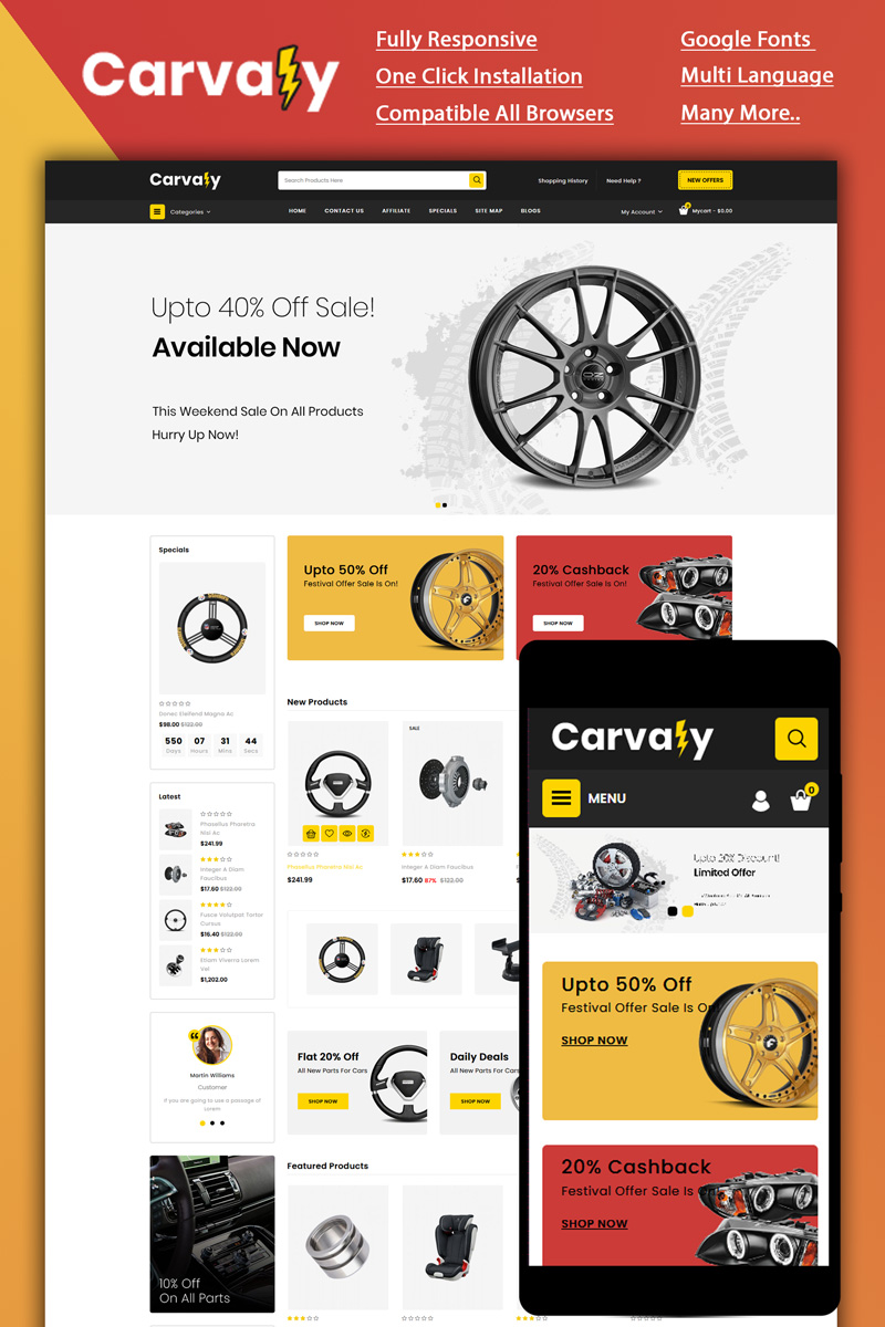 """""""Carvaly - Autopart Store"""" - OpenCart шаблон №87133"""