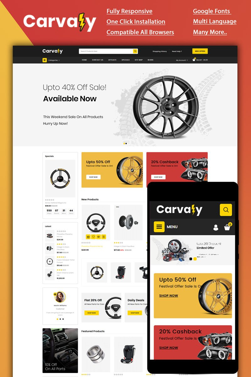 """""""Carvaly - Autopart Store"""" Responsive OpenCart Template №87133"""