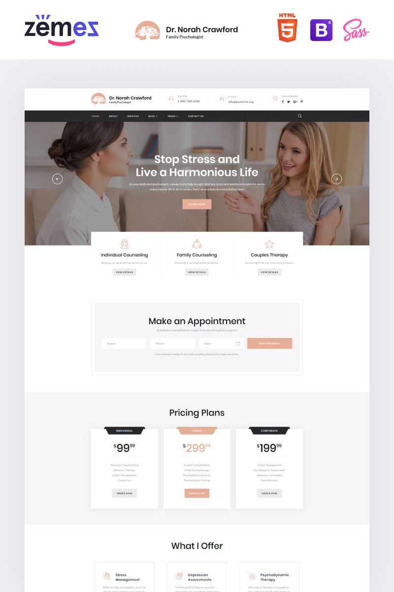 Dr. Norah Crawford - Psychologist Multipage Modern HTML Website Template