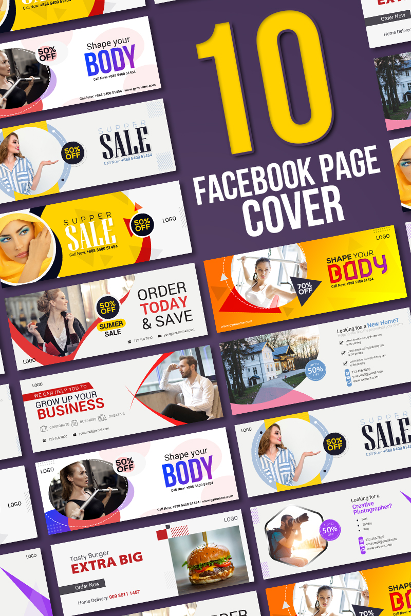 10 Facebook Cover Bundle Social Media
