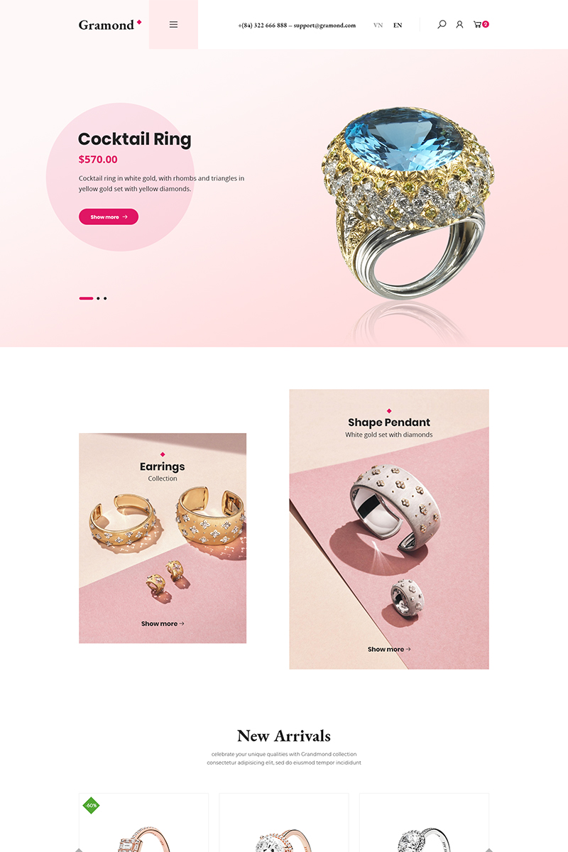 """Gramond - Jewelry Shop"" thème WooCommerce  #87134"