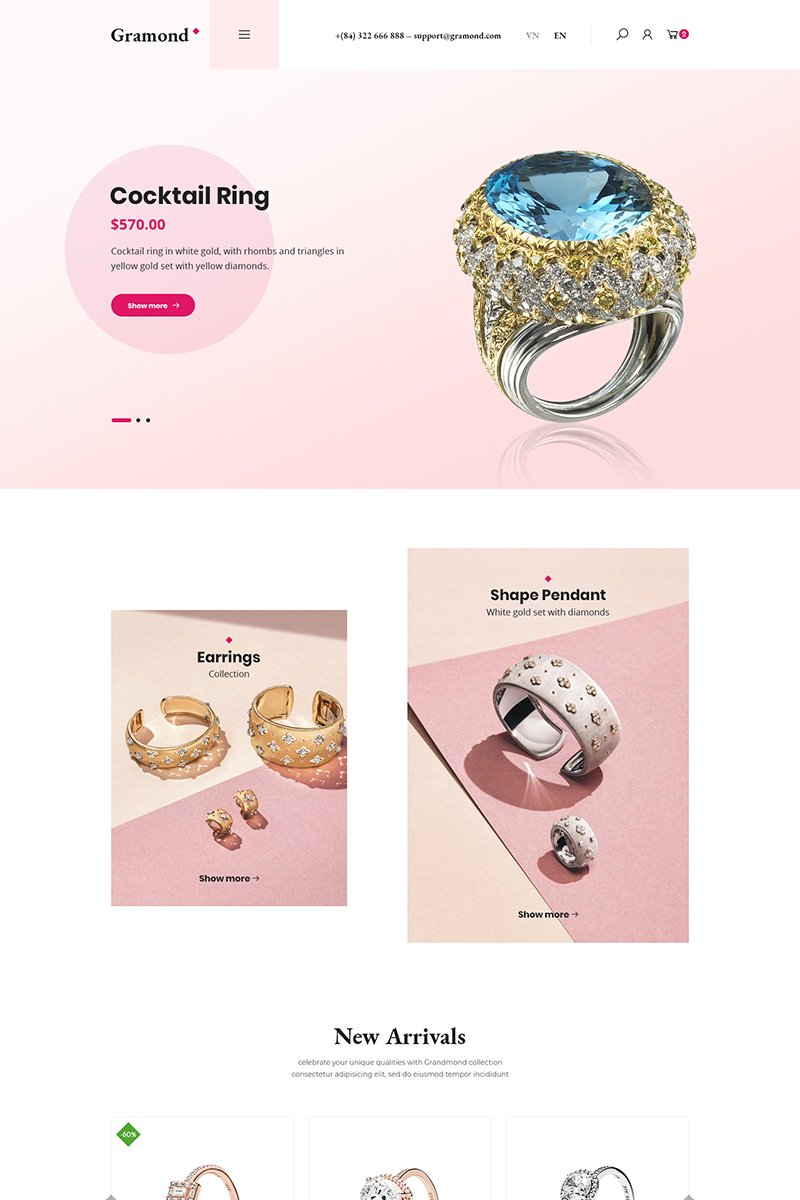 """Gramond - Jewelry Shop"" - WooCommerce шаблон №87134"