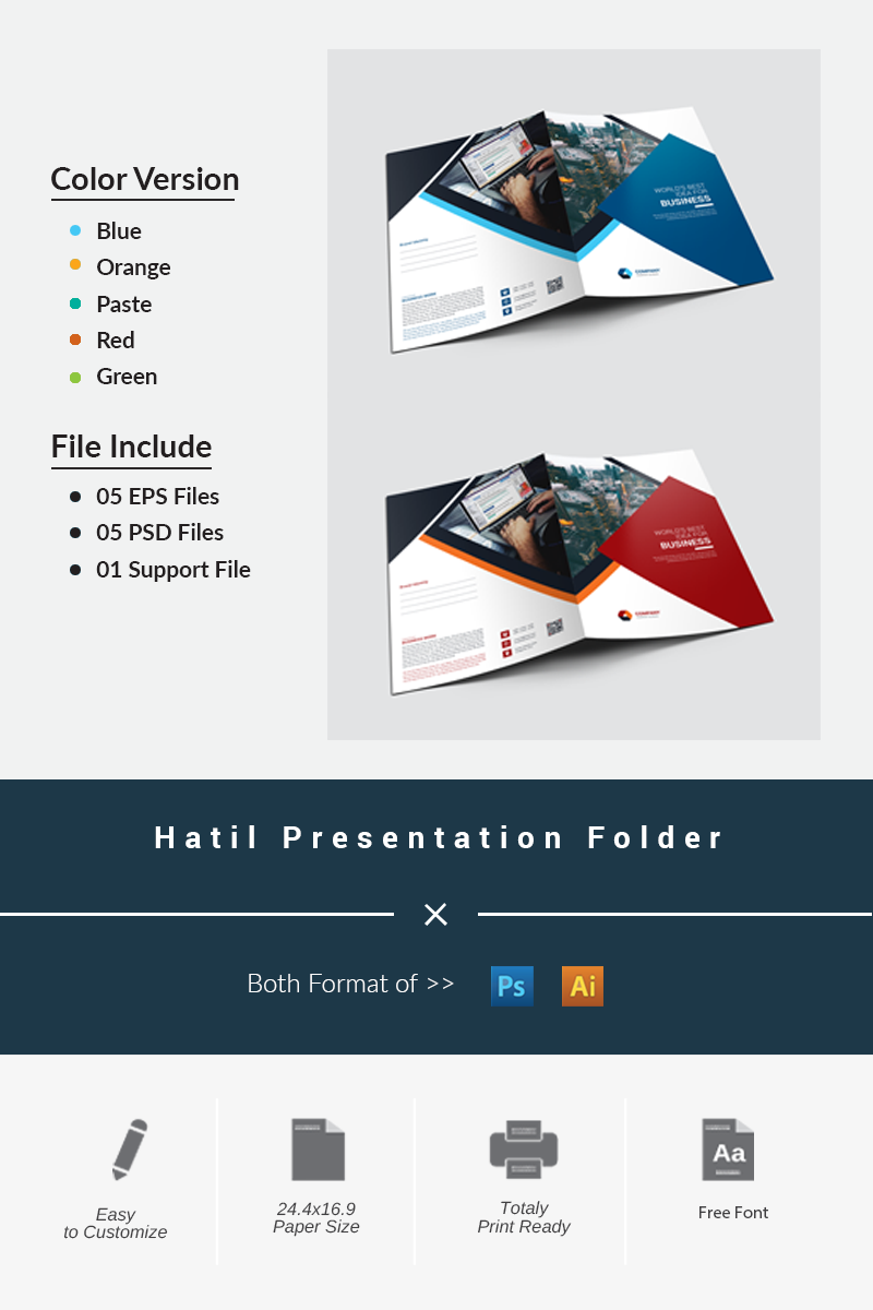 """Hatil Presentation Folder"" 企业设计模板 #87195"