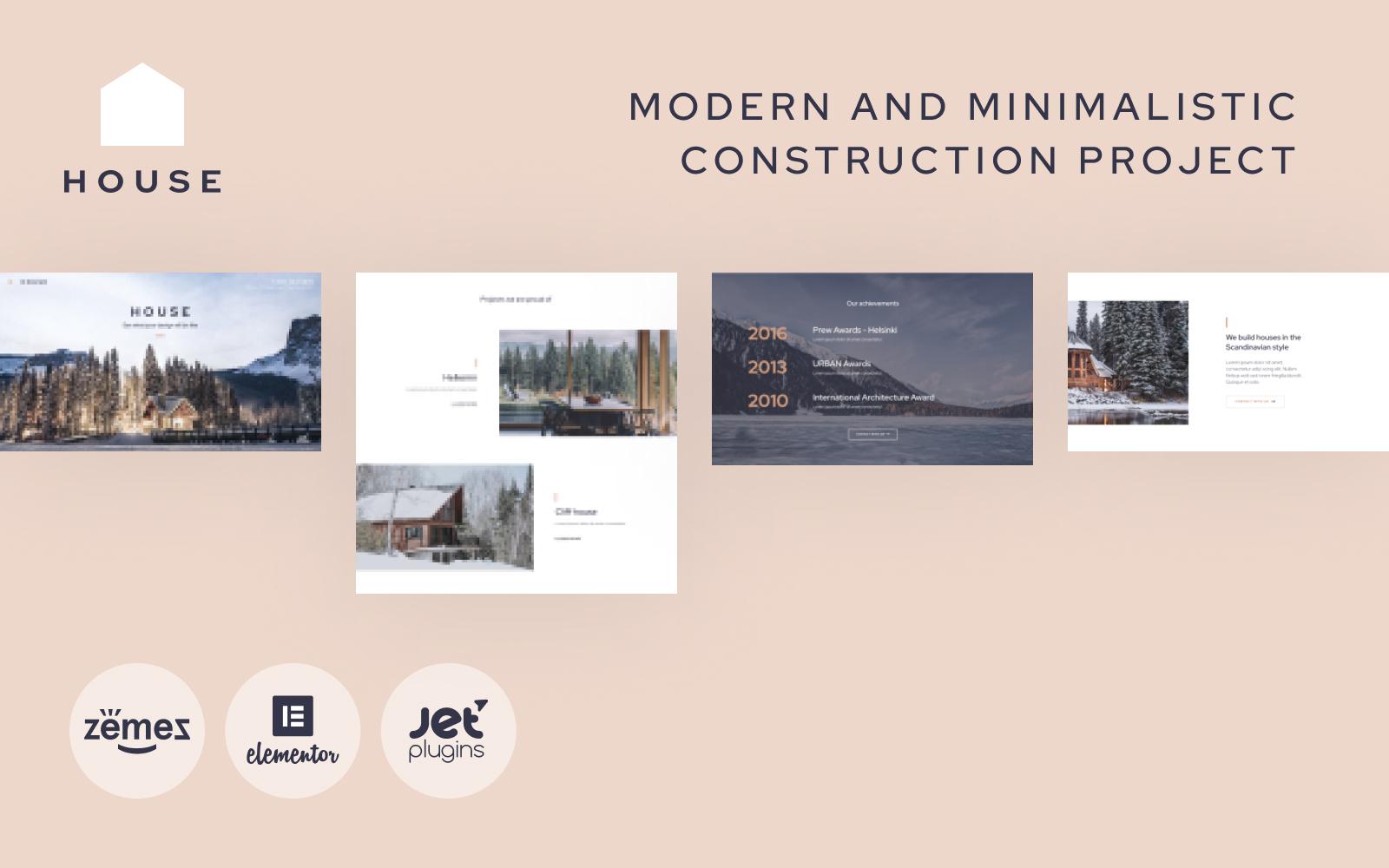 """House - Modern And Minimalistic Construction Project Website"" - адаптивний WordPress шаблон №87190"