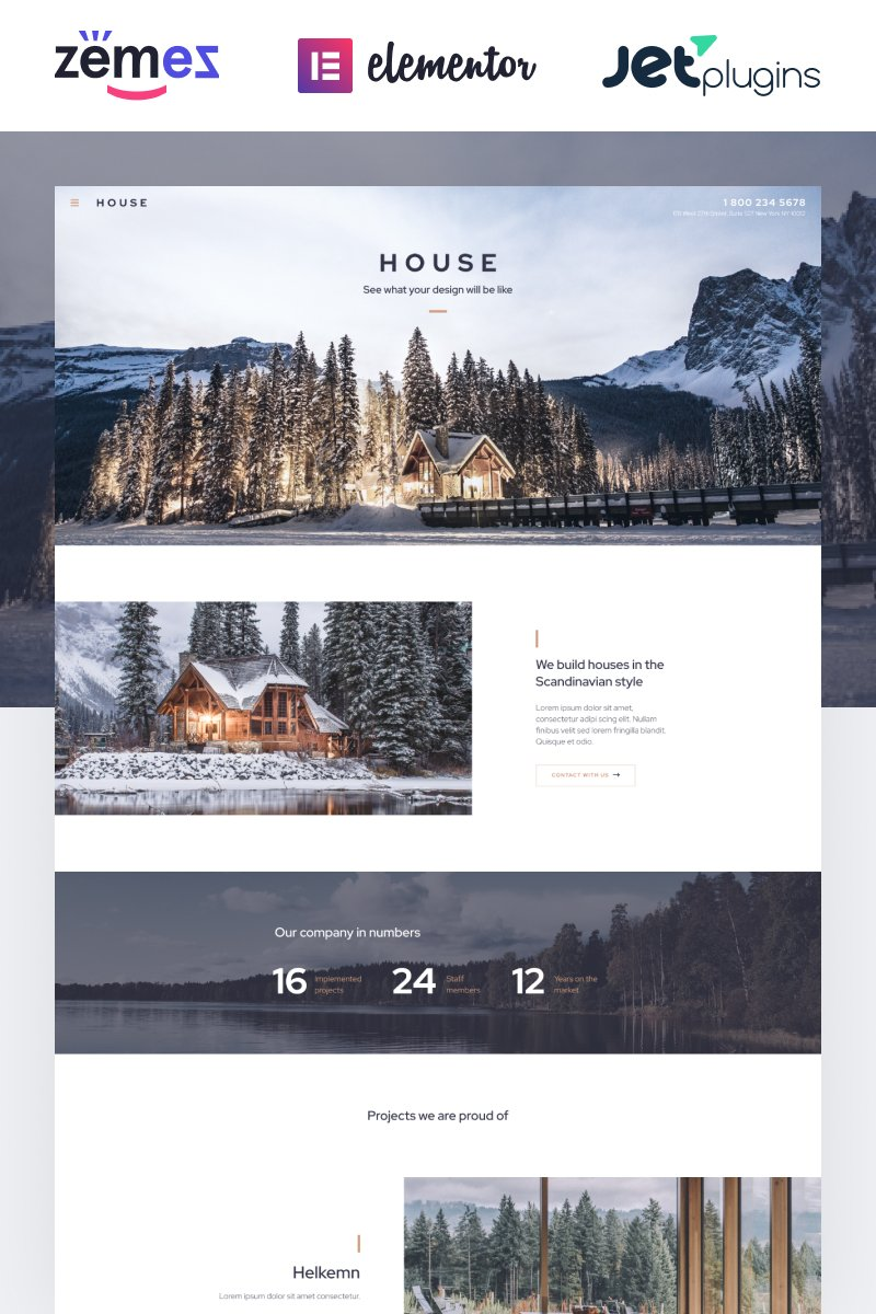 """House - Modern And Minimalistic Construction Project Website"" - адаптивний WordPress шаблон №87190"