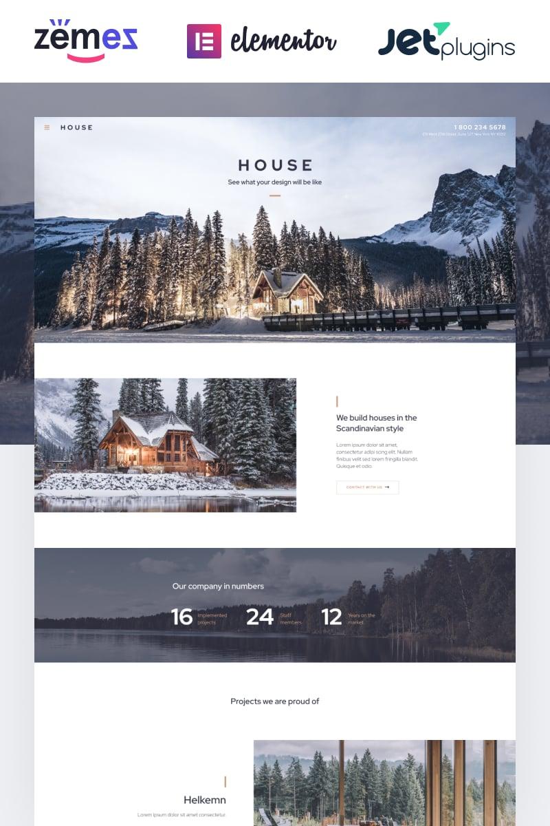 House - Modern And Minimalistic Construction Project Website Tema WordPress №87190 - captura de tela