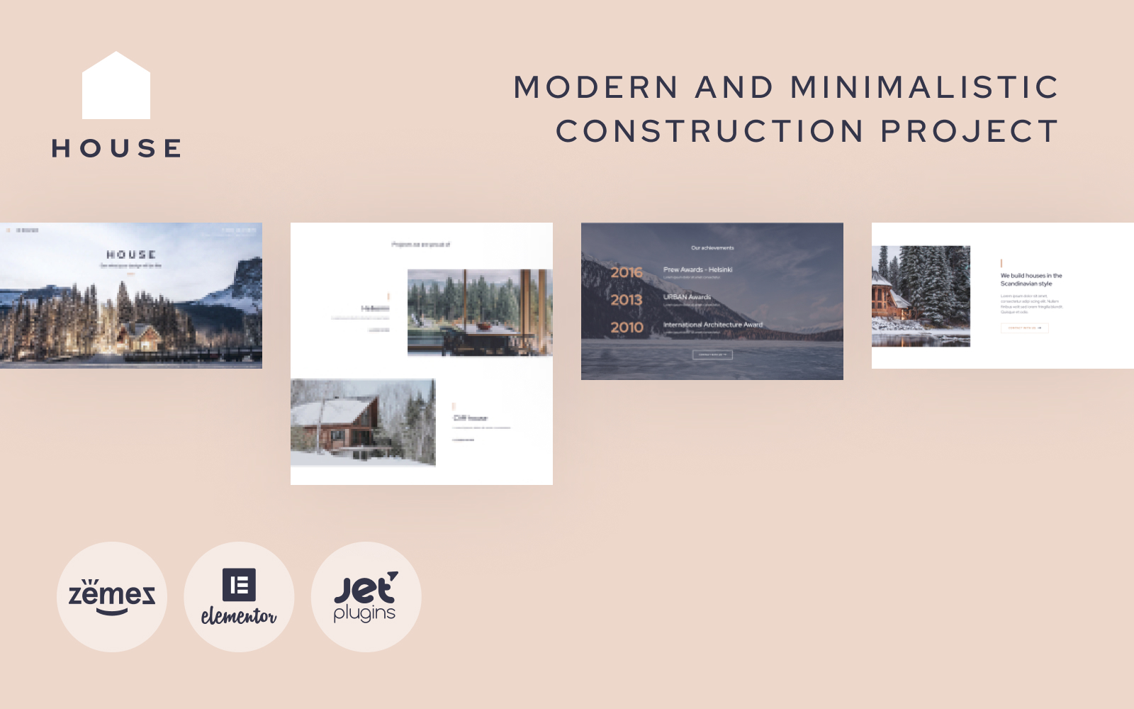 """""""House - Modern And Minimalistic Construction Project Website"""" 响应式WordPress模板 #87190"""
