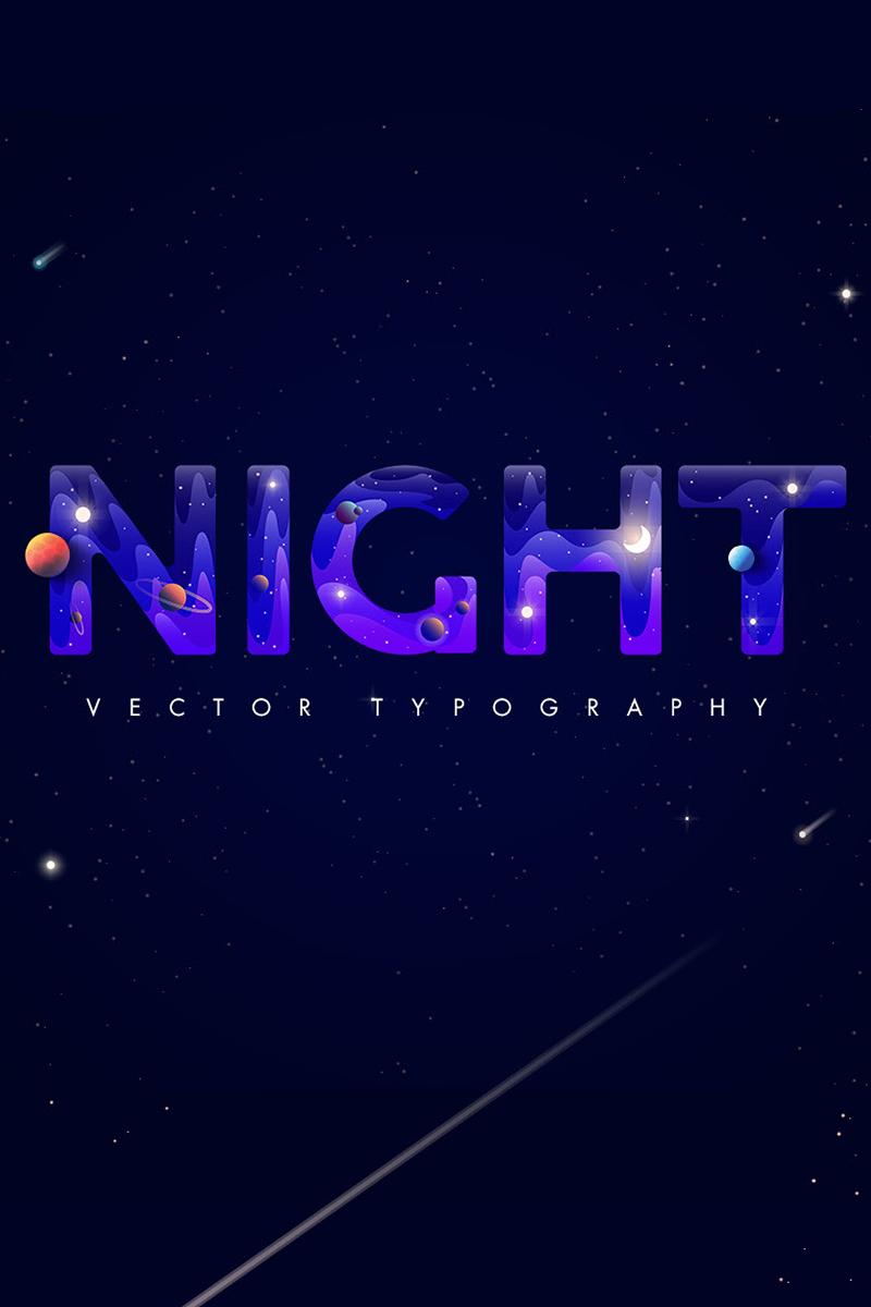 """Ilustración """"Night. Creative typography Night"""" #87118"""