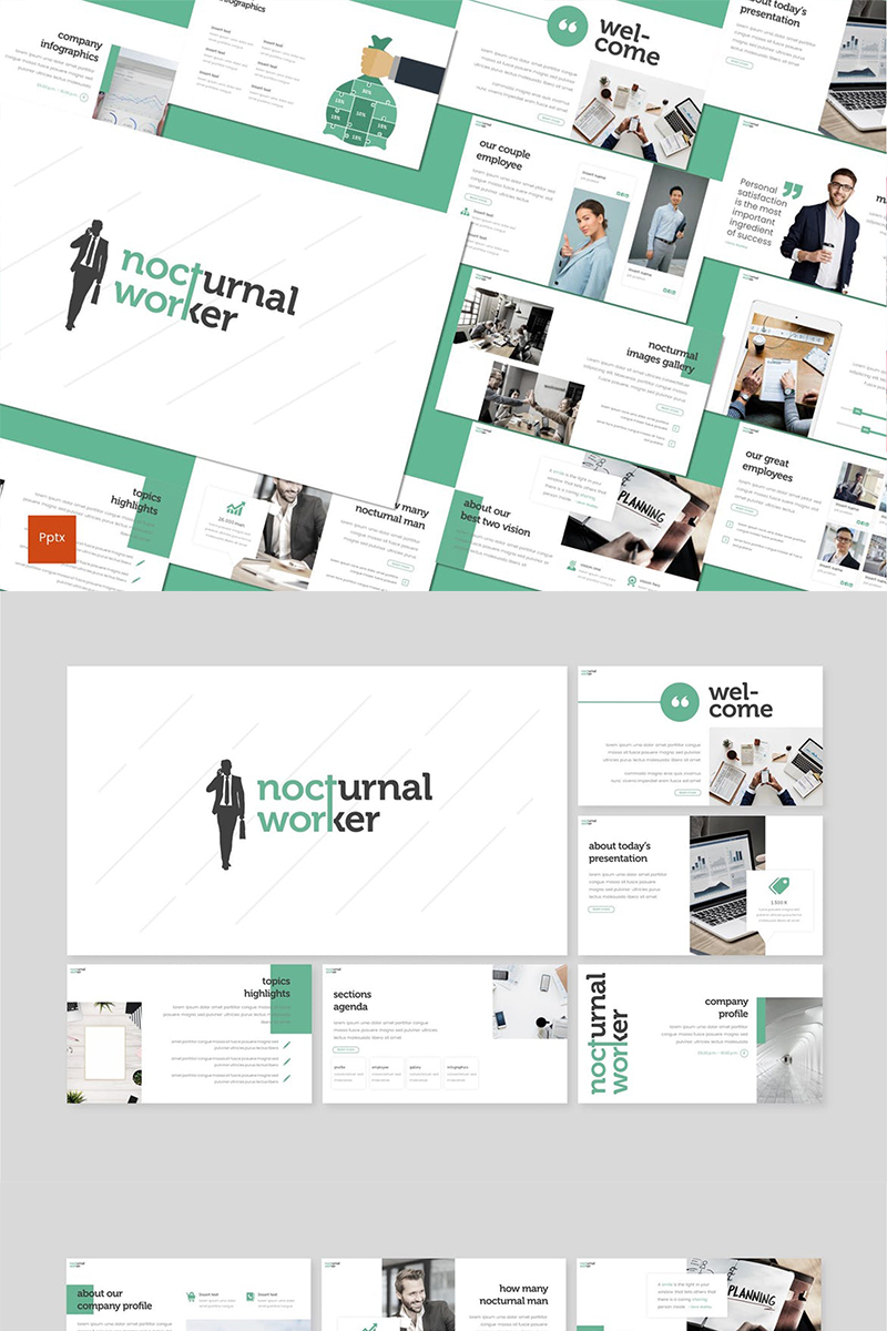 Nocturnal Worker PowerPoint Template