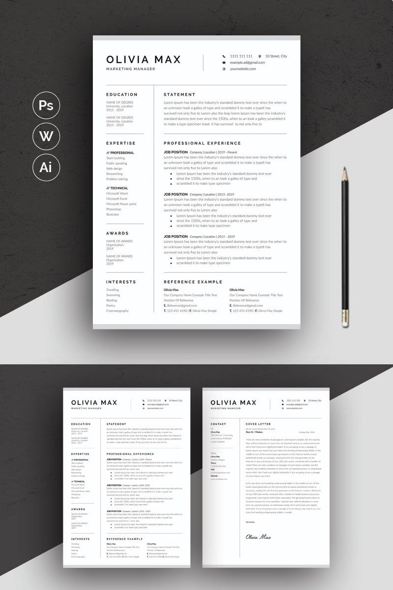 Olivia Max Minimal Resume Template - screenshot