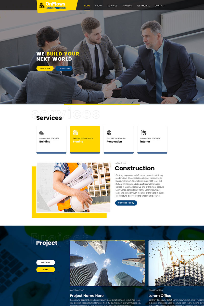 Onflow Construction PSD Template
