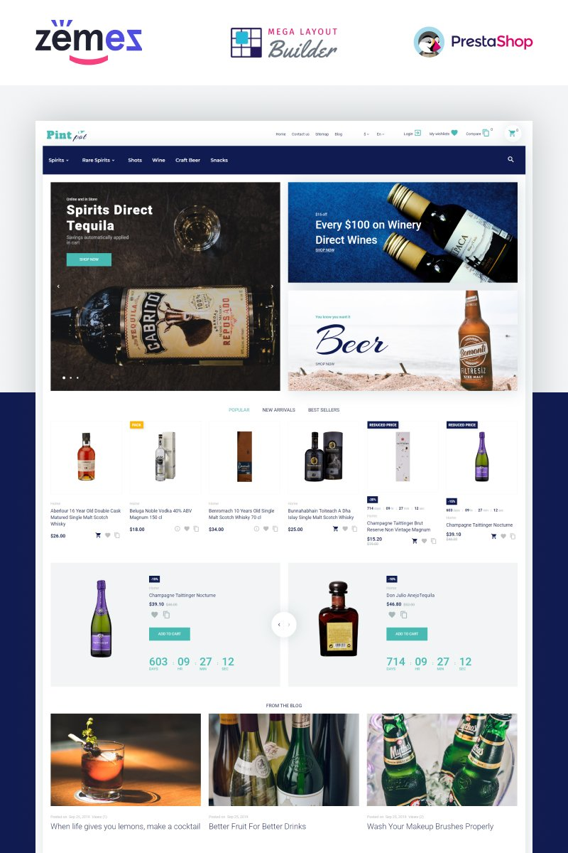 """PintPot - Drinks and Beverages Store Template"" - адаптивний PrestaShop шаблон №87171"