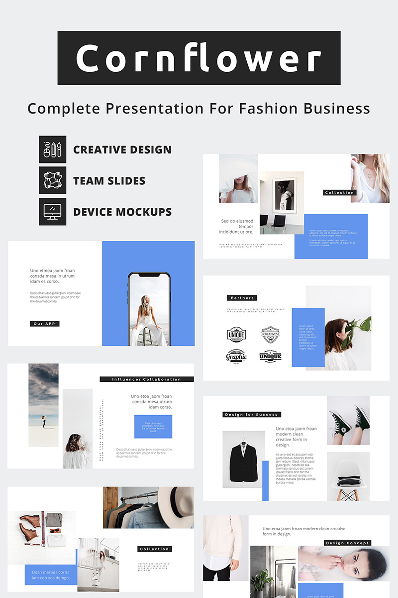 "PowerPoint Vorlage namens ""Cornflower Fashion Business"" #87170"