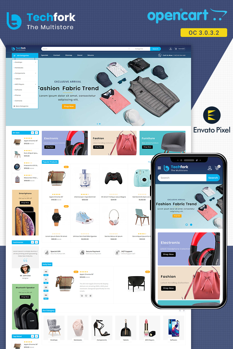 Responsywny szablon OpenCart Techfork - Electronics Store #87169