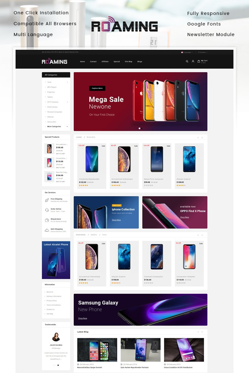 Roaming - Online Mobile Store Template OpenCart №87168