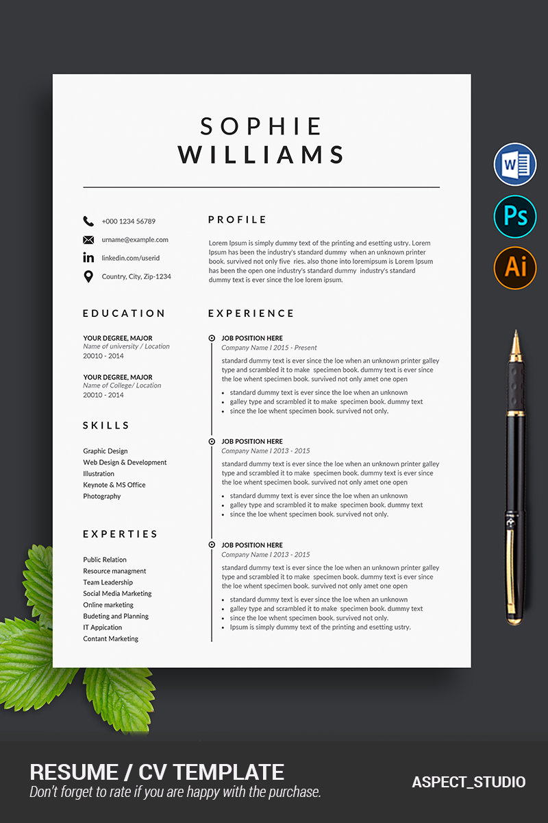 sophie williams resume template  87147