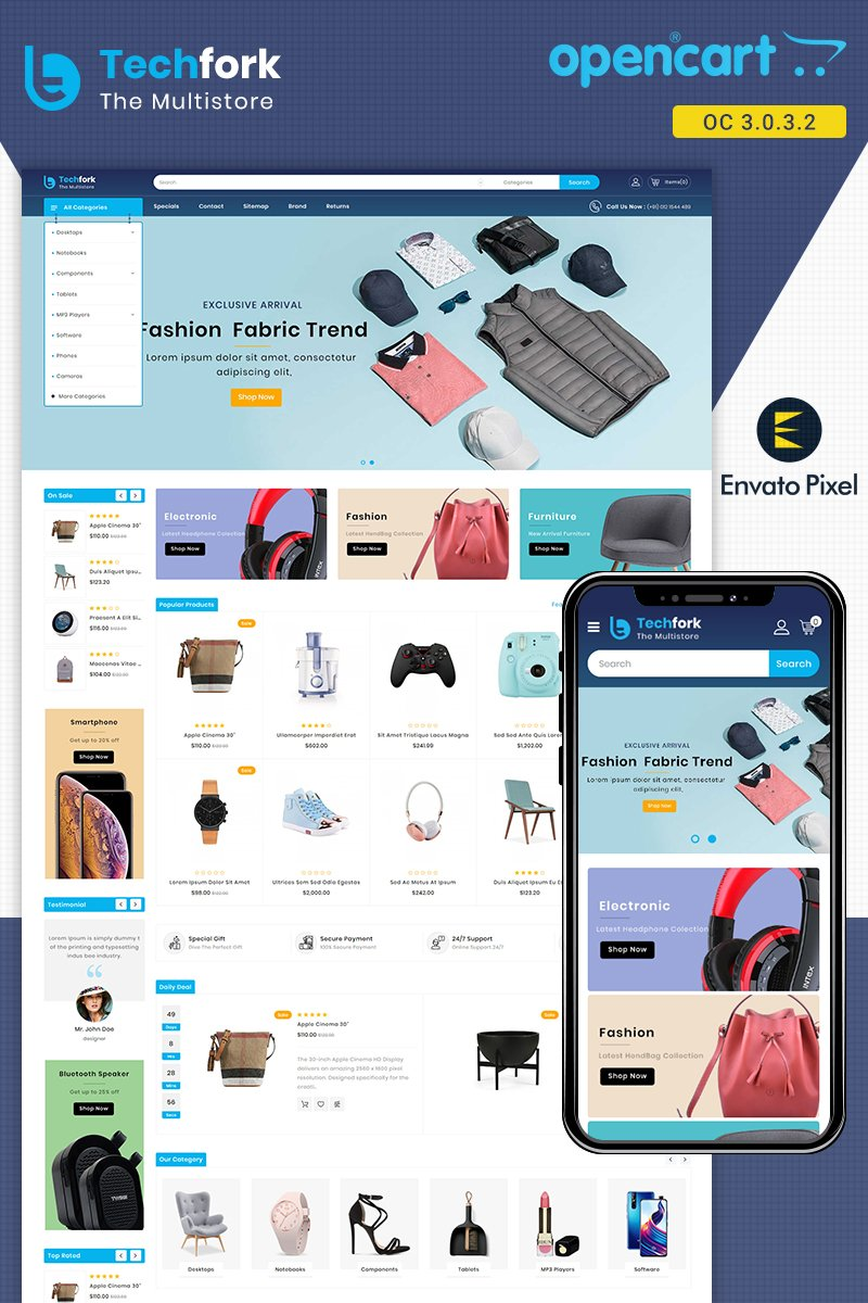 """Techfork - Electronics Store"" Responsive OpenCart Template №87169"