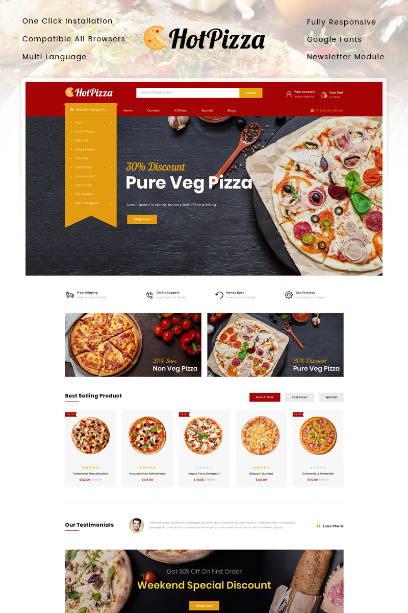 "Tema OpenCart Responsive #87132 ""Hot Pizza Store"""