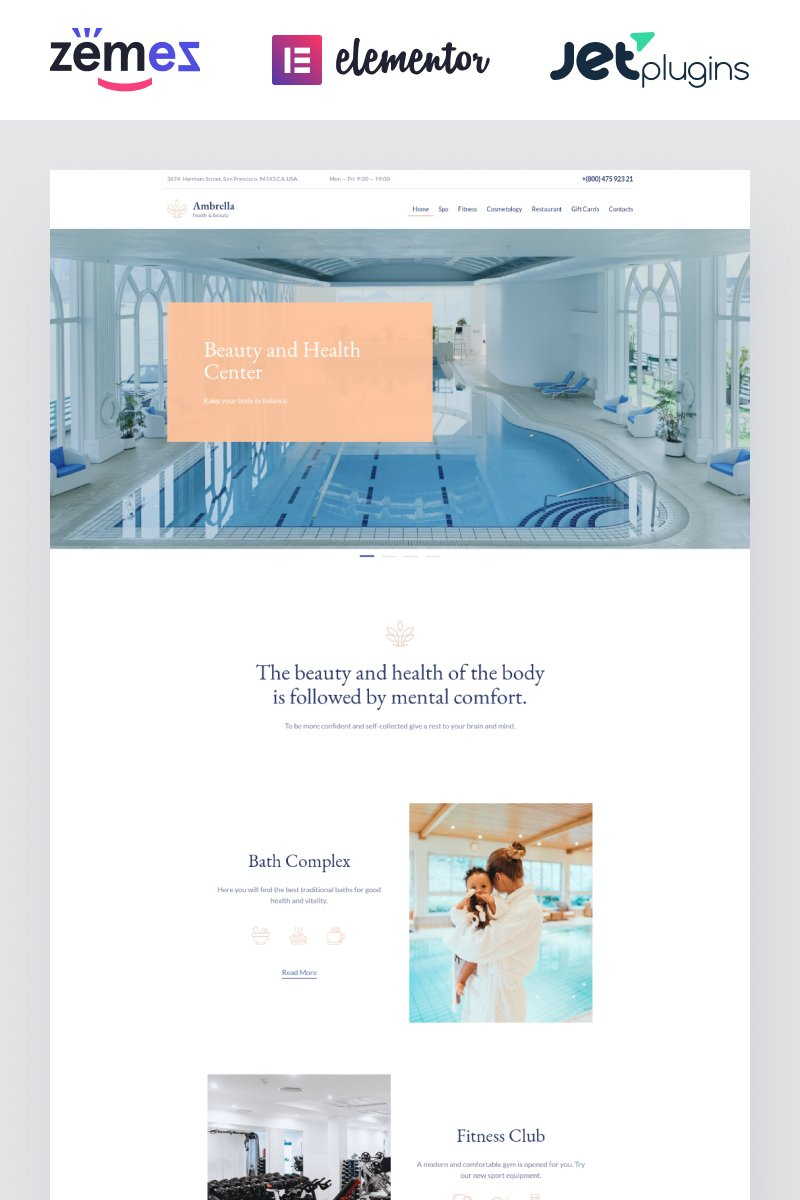"Tema WordPress Responsive #87123 ""Ambrella - Beauty and Wellness Website Template"""