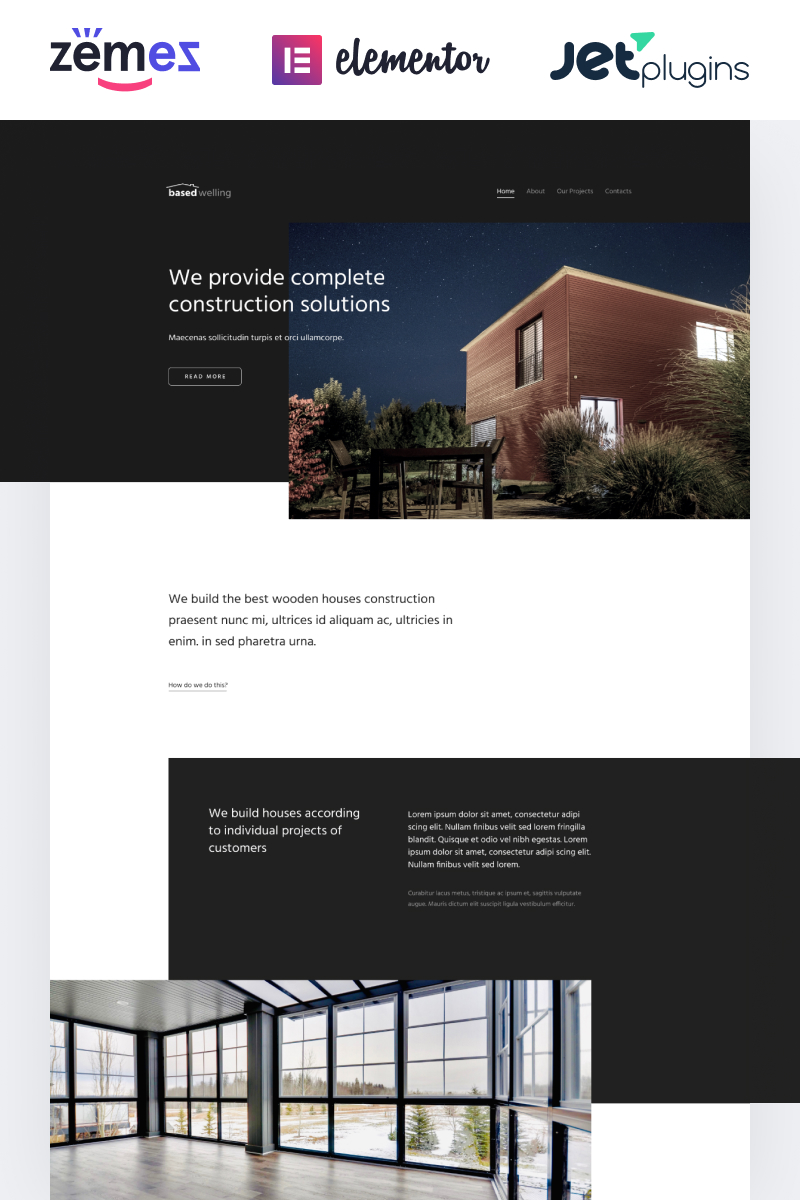"Tema WordPress Responsive #87189 ""BasedWelling - Exterior Home design website for everyone"""