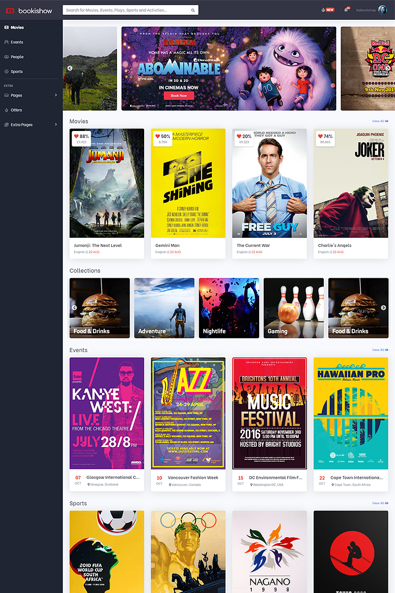 "Template Siti Web #87181 ""Bookishow - Movies, Events, Sports"""
