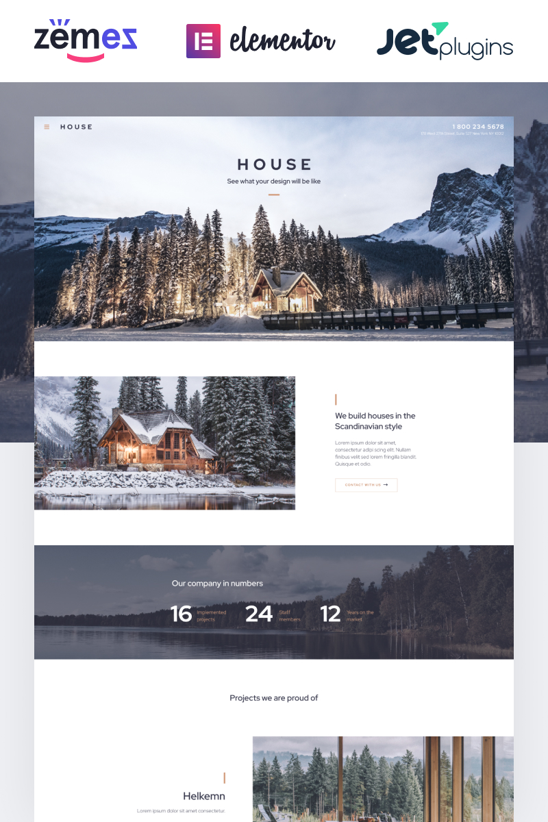 "Template WordPress Responsive #87190 ""House - Modern And Minimalistic Construction Project Website"""