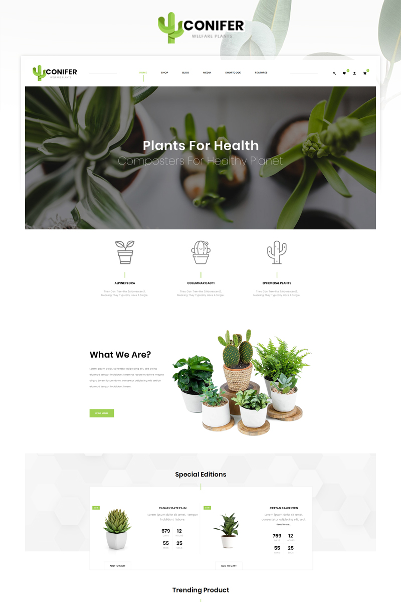 "WooCommerce Theme namens ""Conifer Plant Store"" #87167"