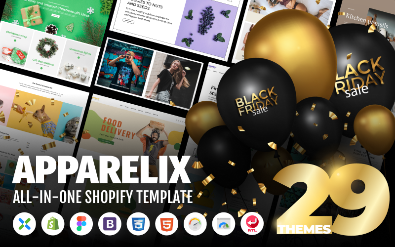 """""""Apparelix - Clean Multipurpose"""" Responsive Shopify Thema №87247"""