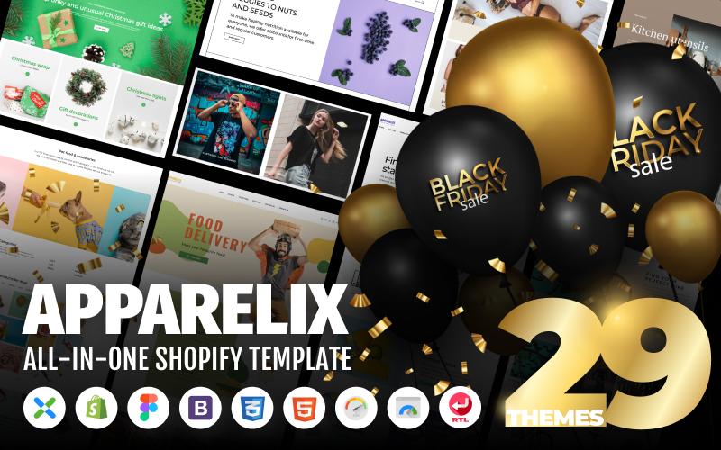 """Apparelix - Clean Multipurpose"" 响应式Shopify模板 #87247"