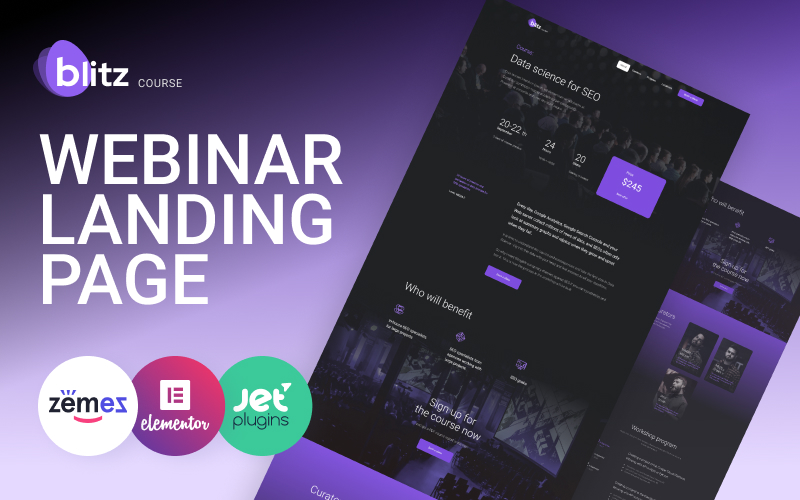 Blitz - Webinar Landing Page Template WordPress Theme
