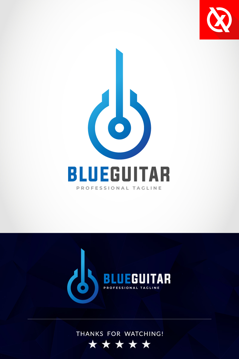 """Blue Guitar - Musical"" modèle logo Premium #87294"
