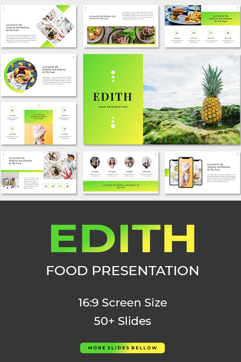 """Edith Food"" modèle PowerPoint  #87282"