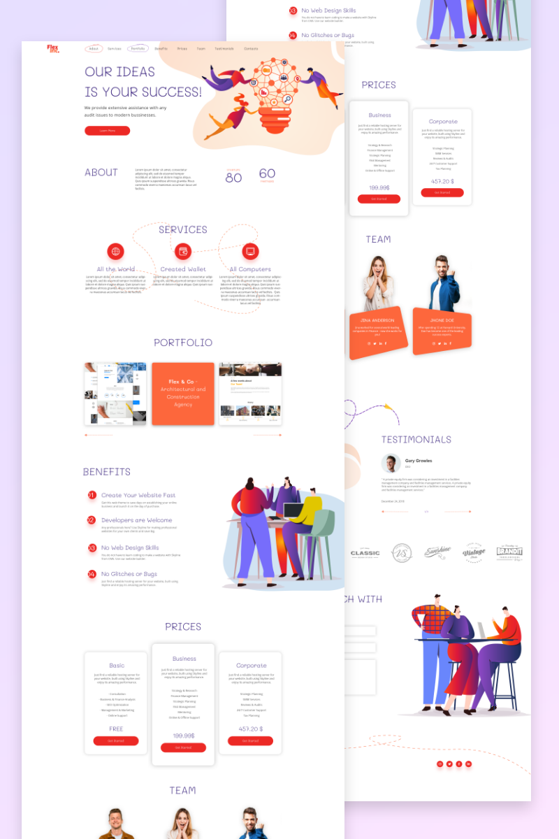 FlexInc. landing page for startup PSD Template