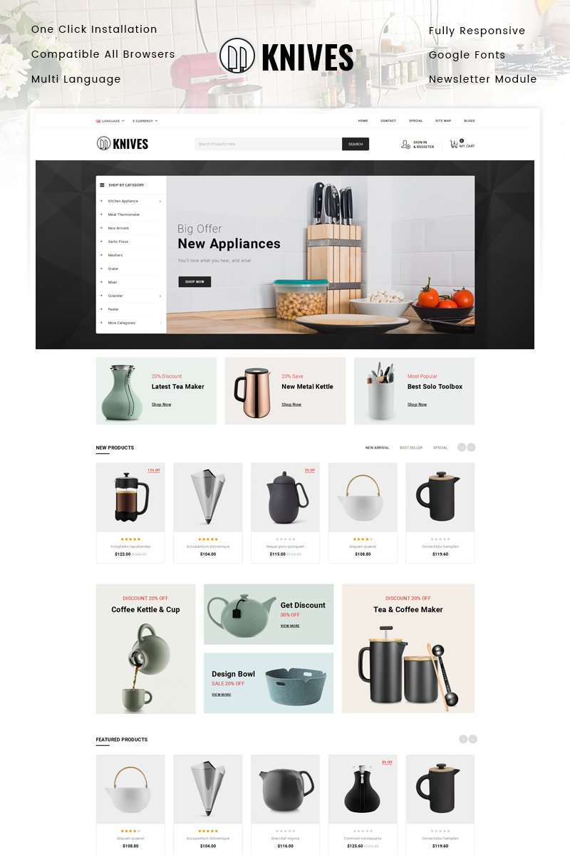 """Knives - Kitchen Appliances Store"" Responsive OpenCart Template №87220"