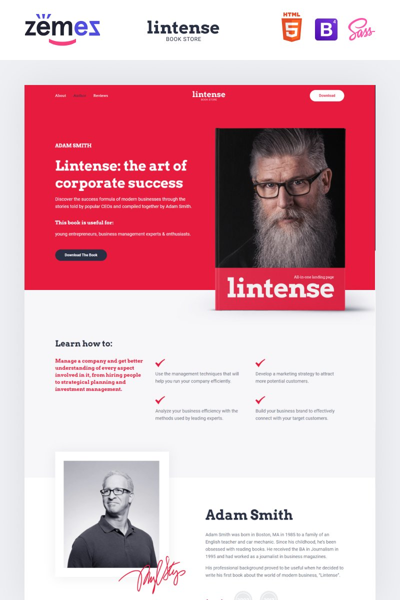 "Landing Page Template namens ""Lintense Book Store - Writer HTML"" #87249"