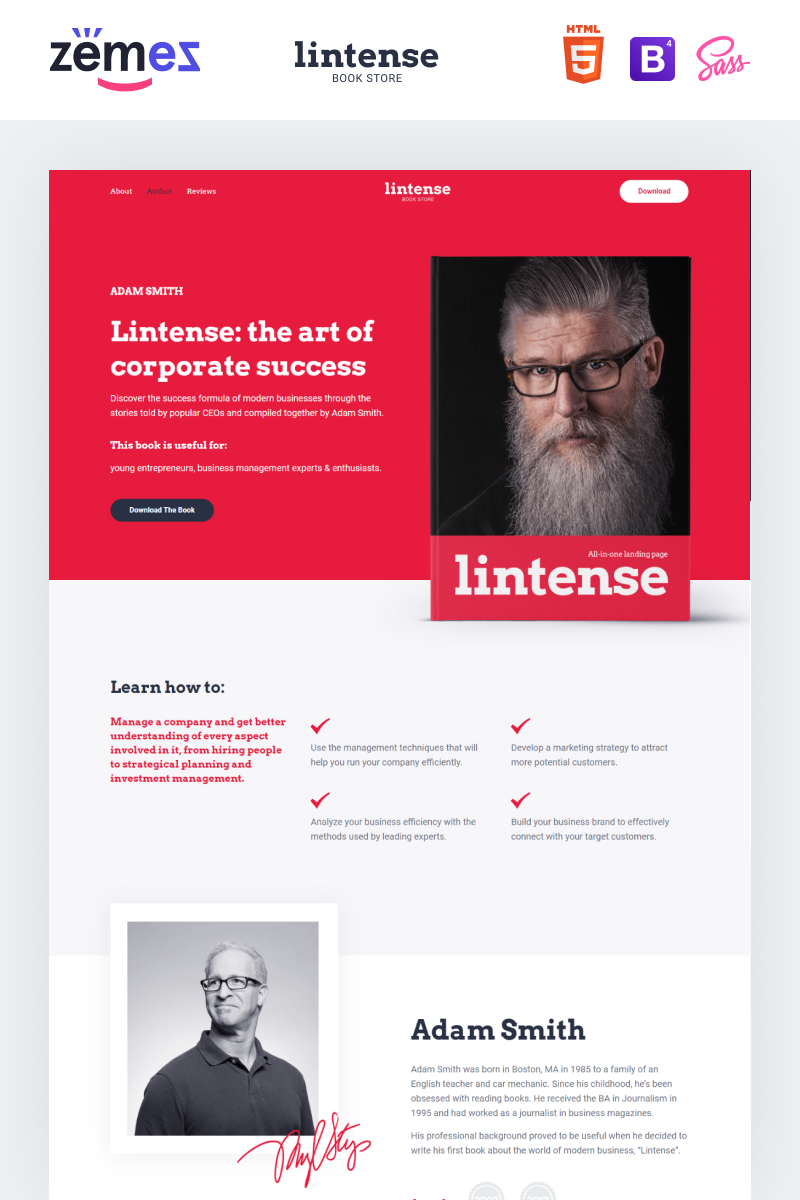 Lintense Book Store - Writer HTML Landing Page Template